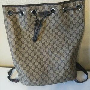 Gucci GG SUPREME Monogram Drawstring backpack